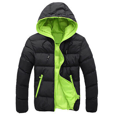 Men Slim Casual Warm Jacket Hooded Winter Thick Coat Parka Overcoat Hoodie GN/XL