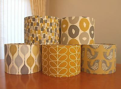 New Handmade Fabric Lampshades in Mustard Yellow Grey Chartreuse 20CM 30CM 40CM