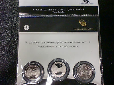 3 Pcs. 2011 U.s. Mint Chickasaw  *america The Beautiful Unc Coin Set Oklahoma