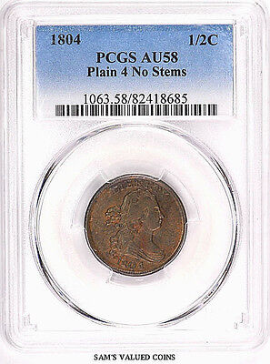 1804 1/2 C US Half Cent Draped Bust Coin - PCGS AU 58 Plain 4, Stems