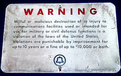 "Vintage Bell System ""WARNING"" Military or Civil Defense 15"" x 24"" Metal Sign"