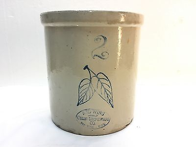 antique Red Wing stoneware crock 2 gallon Union Minn Minnesota birch leaves