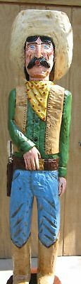 Gallagher 6' Cigar Store Indian OLD WEST COWBOY TEX Hand Carved Sculpture GREEN