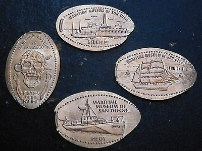Maritime Museum San Diego M1 -  Four Copper Elongated Pennies