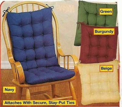 2Pc. Padded Rocking Chair Cushion Set - Burgundy