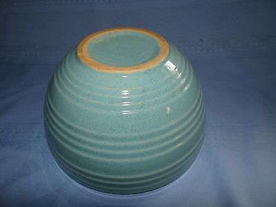 """Vtg McCoy Pottery 8"""" Mixing Bowl Ribbed Blue Speckled Excellent Condition"""