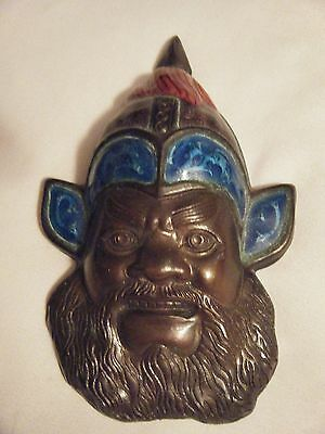 Old Copper Mask With Enamel Can Be Worn As A Pendant Great Detail Work