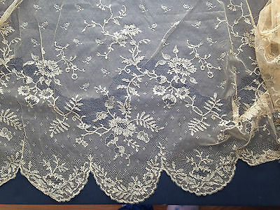 "ANTIQUE FRENCH SILK Hand Made Net Lace Wedding Flounce Deep Ecru 96"" x 27"""