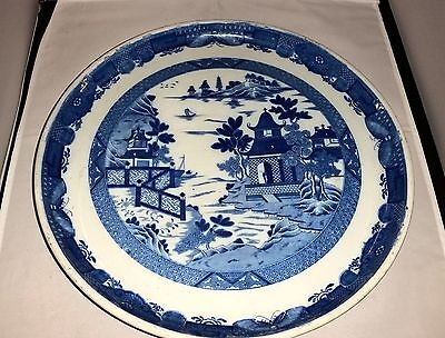 """Antique Blue And White Large Footed Cake Plate / Display Plate 14"""" #b"""