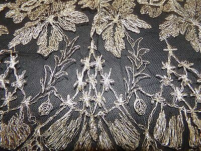 """Antique 1920s Metallic Embroidered Net Black Lace Skirt Flounce 54"""" X 34"""" Floral"""