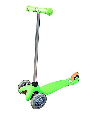 Childrens Kick Push Kids T Bar Tilt And Turn Mini Scooter 3 Wheel Toy In Green