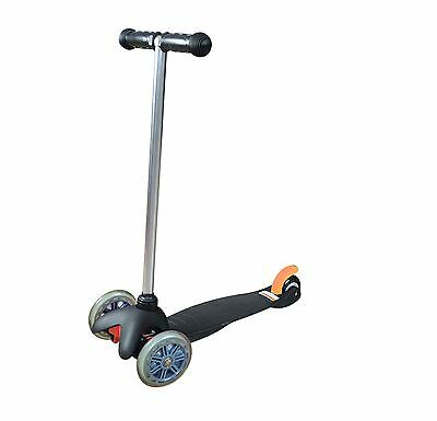 Childrens Kick Push Kids T Bar Tilt And Turn Mini Scooter 3 Wheel Toy In Black
