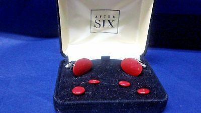 After Six Cuff links Studs Red Sterling  w/Case Vintage Formal Tuxedo