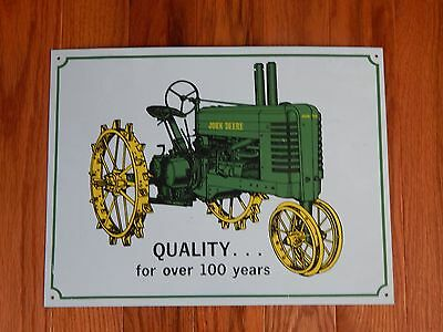 John Deere Reproduction Tin Sign Tractor Cast Iron Wheels