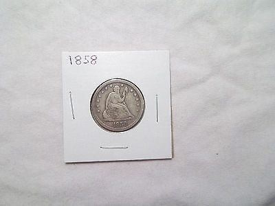 1858 Liberty Seated Quarter nice type coin really sharp details