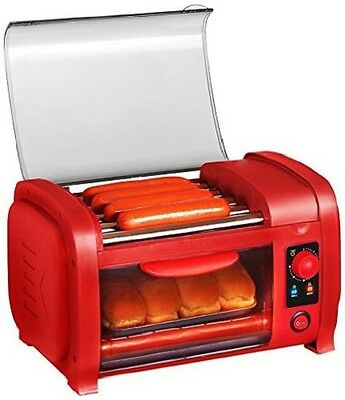 Hot Dog Maker Sausage Roller Cooker Machine With Bun Warmer Toaster Oven Combo