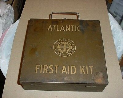 Vintage Atlantic Metal First Aid Kit Box Pittsburgh Pa Mine Safety & Contents