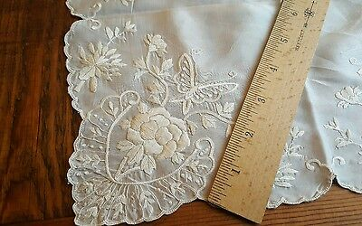Antique Hand Embroidered Ivory Silk Handkerchief Hankie butterfly floral