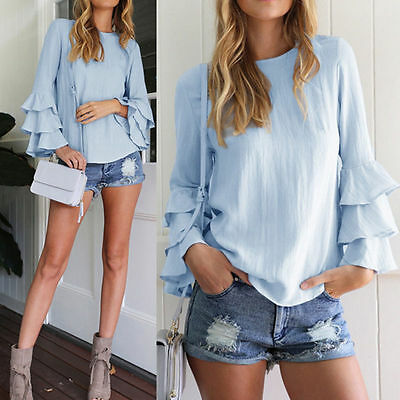 Women's T-shirts Ruffled Polyester Tops Summer Casual Loose Long Sleeve Blouse