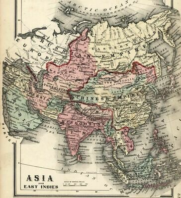 Asia Arabia China Hindoostan India Tibet Siam Anam 1865 Colton small antique map