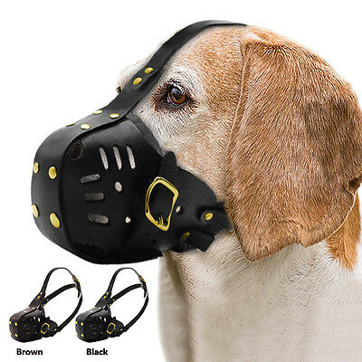 Real Leather Large Dog Muzzle Anti Biting Barking Dog Basket Cage Strong