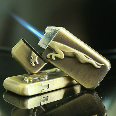 FJ-112 Wheel Straight Thin Lighter Jet Flame Windproof Butane Lighter Cool Gift