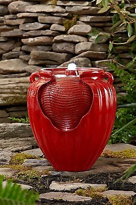 Red Pot Fountain Water LED Electric Garden Deck Porch Indoor Outdoor