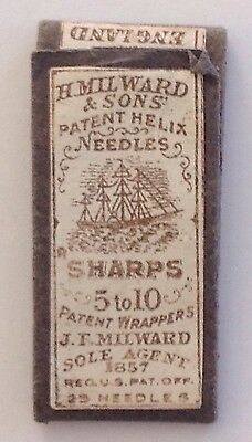 H. Milward & Sons Patent Helix Needles: Sharps 5 to 10 - Sewing Needle Packet