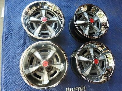 "Set 4 Pontiac Gto Rally 11 15X7"" Wide Original Hw Wheels  New Rings & Red Caps"