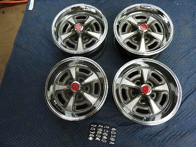 "Set 4 Jc Pontiac Gto Rally 11 14X6"" Wide Original Wheels  New Rings & Red Caps"