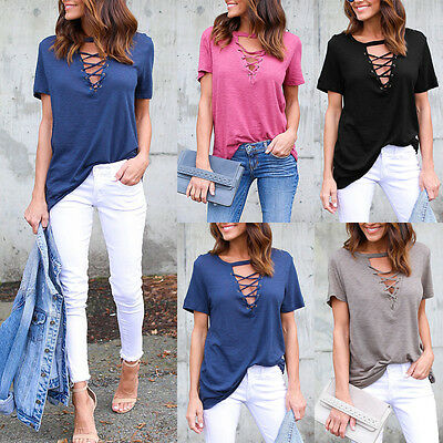 Fashion Womens Summer Short Sleeve Shirt Casual Blouse Loose Cotton Tops T Shirt
