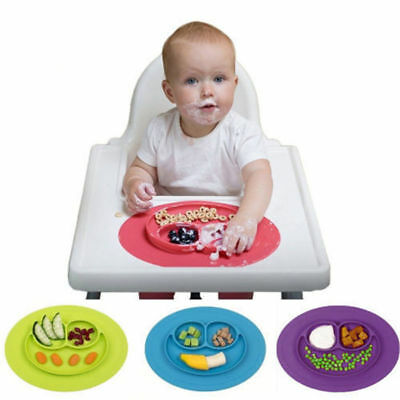 Silicone Bowl Cute Smily Face Baby Kids Suction Table Food Tray Placemat Plate