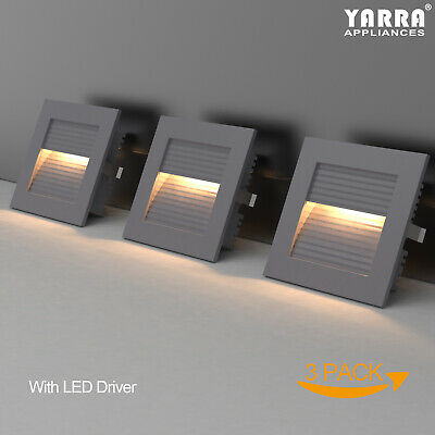 1W LED Square Step Lights Wall Recessed for Stairs Pathway Corner Home Decor