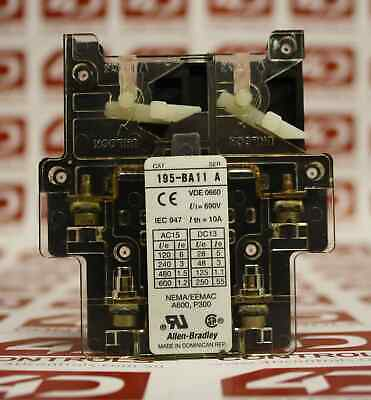 Allen Bradley 195-BA11 Auxiliary Contact 690V 10A - Used - Series A