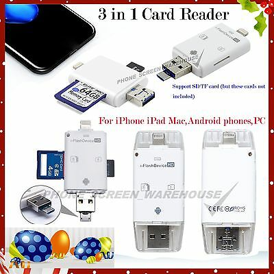 3 in 1 Micro SD TF Memory Card Reader Adapter USB Drive For iPhone iPad Android