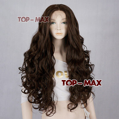 """UK SELLER 26"""" Dark Brown Long Curly Women Lady Synthetic Lace Front Hair Wig"""
