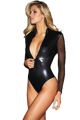 32125 Body Nero Tessuto Vinile PVC WetLook con Colletto e Maniche Lunghe Velate