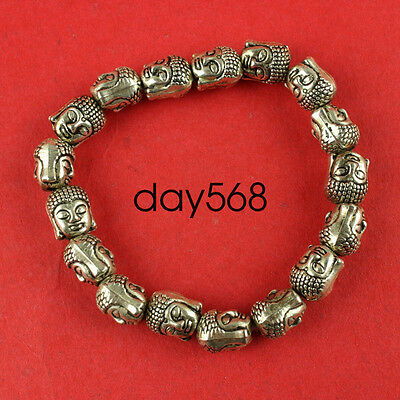 Chinese Tibet silver carved guanyin head talisman elastic bracelet