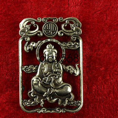 chian Wonderful Miao Silver Carving Lifelike Guanyin Rare Lucky Pendant