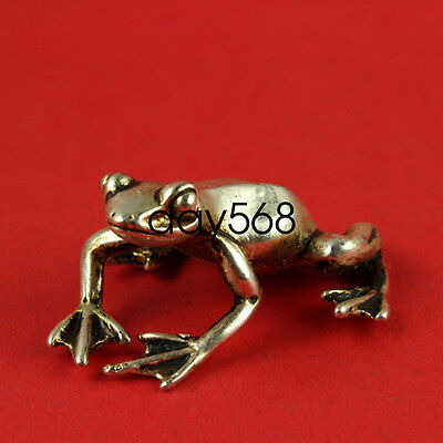Chinese decorate Tibet Buddhism Miao Silver frog Statue