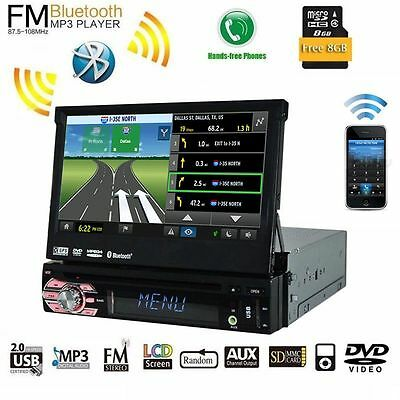 "7"" Single 1 Din Car Stereo CD/DVD Player GPS Navi Bluetooth Audio Video iPod BT"