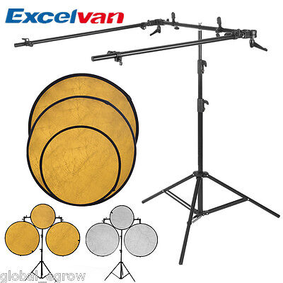 Excelvan Collapsible Reflector Holder Boom Arm + Photo Studio Light Stand Tripod