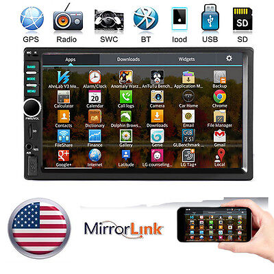 """7"""" 2 DIN IN Dash Car Stereo Video AUX MP5 Player GPS Mirror Link for Android"""