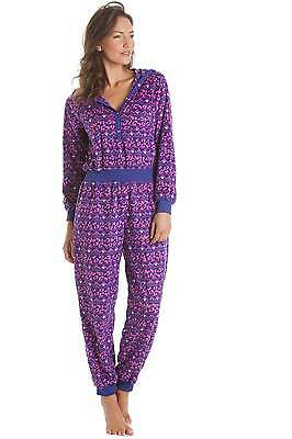 6ab62f1999 Camille Womens Ladies Nightwear Supersoft Pink and Purple Print Hooded  Sleepsuit