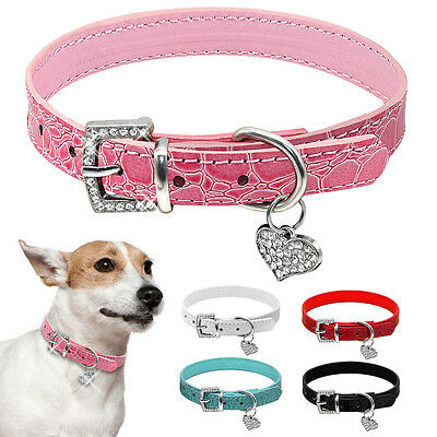 Corc Dog Collar PU Leather Pet Puppy Bling Rhinestone Buckle & Heart Pendant