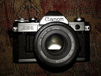 Canon AE-1 35mm Camera with 50mm f/1.8 Lens Excellent Condition