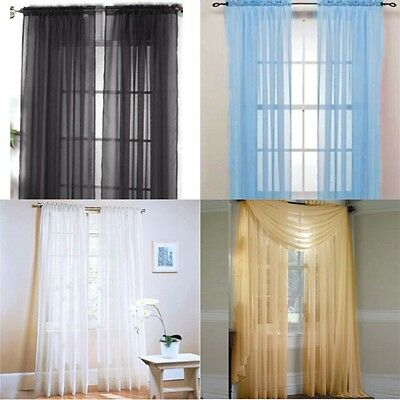 Sheer Window Curtain Door Drape Panel or Scarf Scarf Tulle Assorted Voile Pure