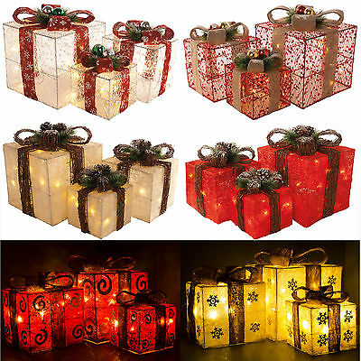 3 Christmas Party Sequin Light Up Glitter Gift Parcels Pre-lit Tree Decorations
