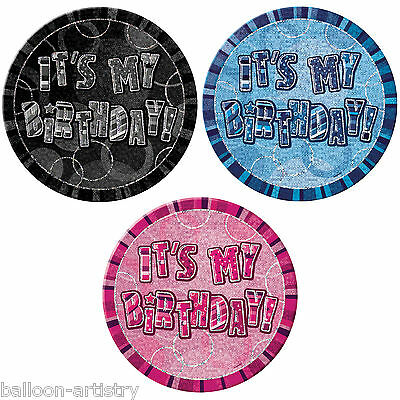 "6"" Happy Birthday Pink Blue Black Glitz Giant Party Holographic Badge"