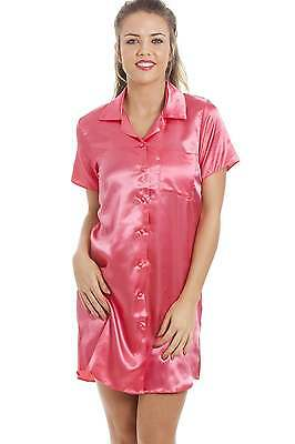 Camille Womens Nightwear Luxurious Knee Length Coral Pink Satin Nightshirt